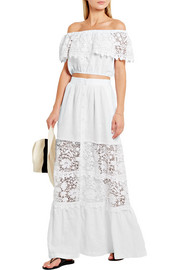 Miguelina Kimora crocheted cotton-paneled linen maxi skirt