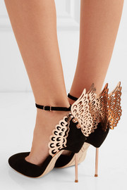 Sophia Webster Evangeline suede and patent-leather pumps
