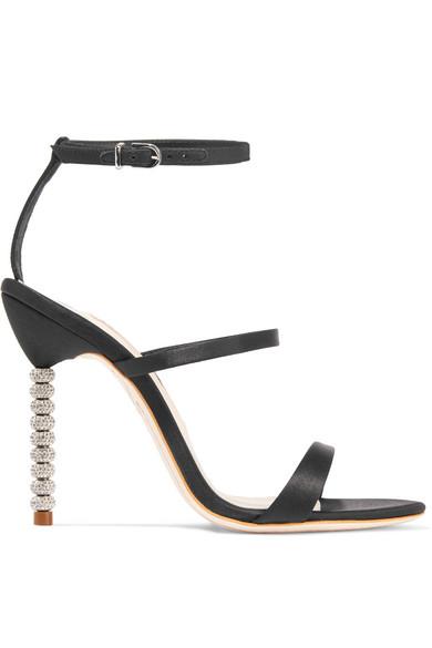 Sophia Webster - Rosalind Crystal-embellished Satin Sandals - Black