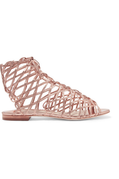 Sophia Webster - Delphine Metallic Leather Sandals - Pink