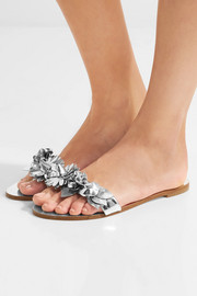 Sophia Webster Lilico appliquéd metallic leather slides