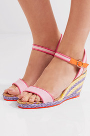 Sophia Webster Lucita leather-trimmed canvas espadrille wedge sandals