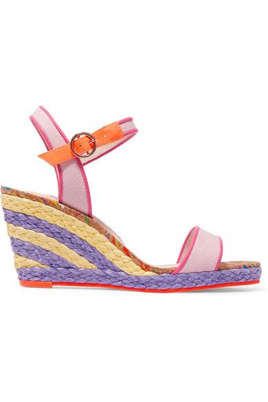 sophia webster female sophia webster lucita leathertrimmed canvas espadrille wedge sandals pink