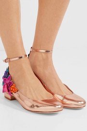 Sophia Webster Hula metallic leather pumps