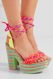 Sophia Webster Jade neon leather and cork platform sandals