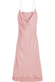 Draped hammered-charmeuse dress