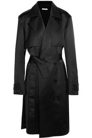 Double-breasted satin trench coat