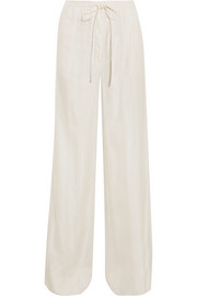 Pintucked satin wide-leg pants