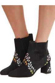 Sophia Webster Liliana embroidered suede ankle boots