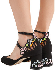 Sophia Webster Liliana embroidered laser-cut suede Mary Jane pumps