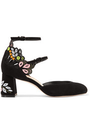 Liliana embroidered laser-cut suede Mary Jane pumps