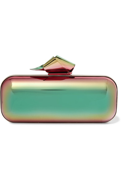 Jimmy Choo - Cloud Tube Holographic Metal Clutch - Metallic