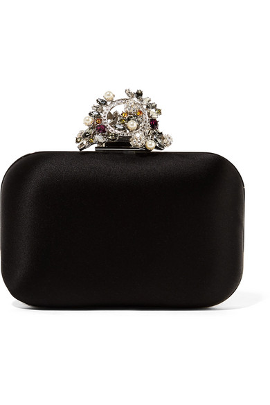 Jimmy Choo - Cloud Interchangeable Swarovski Pearl And Crystal-embellished Satin Clutch - Black