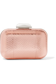 Jimmy Choo Cloud embellished metallic elaphe clutch