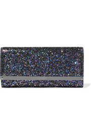 Jimmy Choo Milla glittered leather clutch