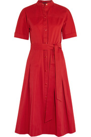 Dune belted pleated cotton-gabardine dress