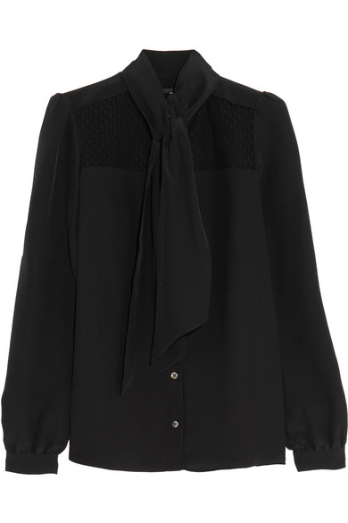 Vanessa Seward - Darla Pussy-bow Tulle-paneled Silk Crepe De Chine Blouse - Black