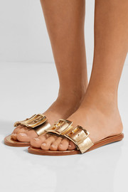 Tibi Frida metallic leather slides