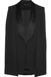Merrie satin-trimmed crepe cape