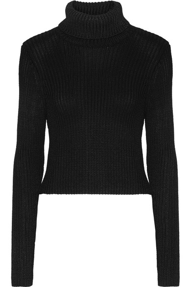 Alice+olivia Woman Turtleneck Ribbed Wool-blend Top Black Size L Alice & Olivia Sale Factory Outlet Clearance High Quality For Sale Cheap Real Reliable Cheap Price Discount Best Wholesale h5WqCMBg