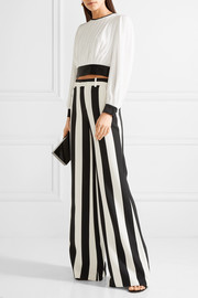 Alice + Olivia Paulette striped stretch-crepe wide-leg pants