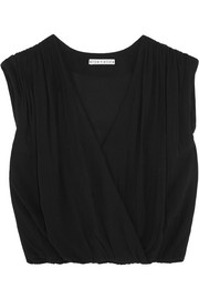 Alice + Olivia Dania wrap-effect crepe top