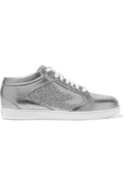 Jimmy Choo Miami glittered and metallic leather sneakers