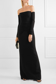 Off-the-shoulder ruched silk-cady gown