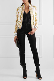 Versace Printed silk-twill bomber jacket