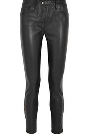 Leather and stretch-jersey mid-rise skinny jeans