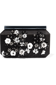 Saya appliquéd satin clutch