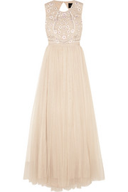 Prairie open-back embellished chiffon and tulle gown