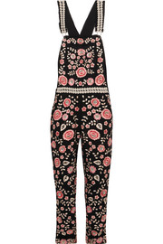 Embroidered embellished crepe overalls