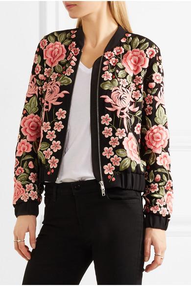 986fe3afe Embroidered embellished crepe bomber jacket