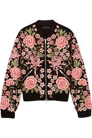 Embroidered embellished crepe bomber jacket