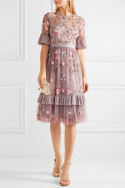 Embellished embroidered tulle dress