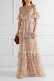 Needle & Thread Supernova tiered off-the-shoulder embellished tulle gown