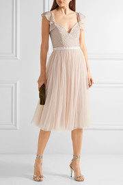 Swan beaded georgette dress