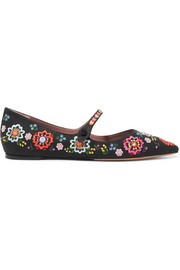 Tabitha Simmons Hermione Fest embroidered canvas point-toe flats