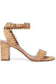 Leticia perforated cork and leather sandals