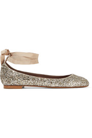 Daria lace-up glittered leather ballet flats