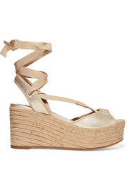 Logan metallic leather wedge espadrille sandals