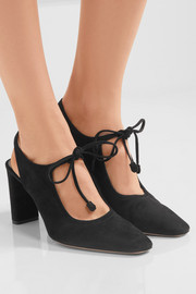 The Row Camil cutout suede pumps
