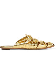 The Row Capri metallic elaphe slippers