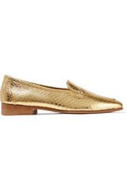 The Row Adam metallic elaphe loafers