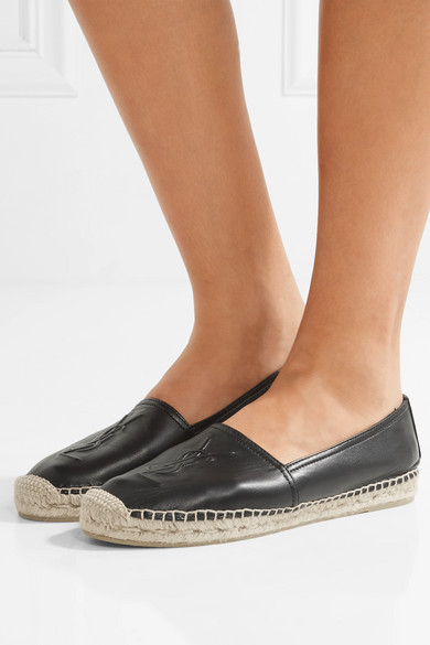Saint laurent embossed leather espadrilles net a for The net a porter