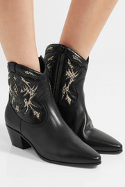 Saint Laurent Rock ayers-paneled leather ankle boots