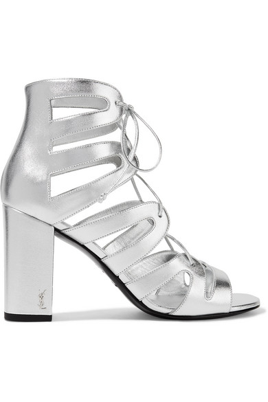 Saint Laurent - Babies Lace-up Metallic Leather Sandals - Silver