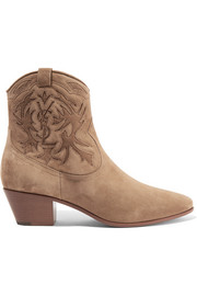 Rock stitched suede ankle boots
