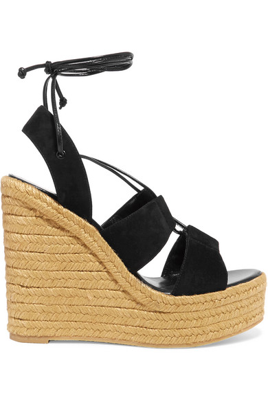 saint laurent female 188971 saint laurent suede espadrille wedge sandals black